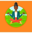 Business woman meditating in lotus position vector image