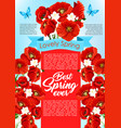 spring time flowers for greeting poster vector image