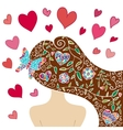 Lovely spring girl with fantasy pattern vector image
