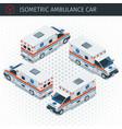 isometric ambulance car vector image vector image
