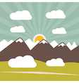 Retro Flat Design Nature Landscape with Sun Hills vector image