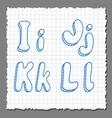 sketch 3d alphabet letters - IJKL vector image vector image