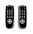 black tv remote control icons set vector image