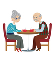 grandfather and grandmother drink tea vector image
