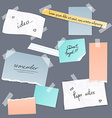 Collection of various note papers banner set vector image