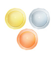 Empty glossy polished round discs of gold silver vector image