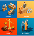 justice isometric design concept vector image