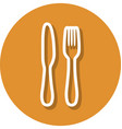 fork and knife in circle line icon vector image