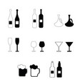 Alcohol bottles and glasses set vector image