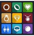 Jewelry flat Icons set 33 vector image