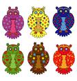Set of six stylized owls vector image