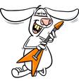bunny playing guitar cartoon vector image