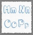 sketch 3d alphabet letters - mnop vector image vector image