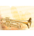 Brass Trumpet on musical background vector image