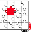 puzzle with a saucepan vector image