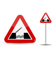road sign warning drawbridge in red triangle are vector image