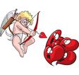 Cupid shoots hearts vector image