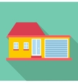 Big house with garage icon flat style vector image