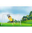 A boy in a yellow uniform catching the ball vector image vector image