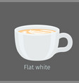 flat white coffee with latte art on foam vector image