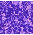 Purple tropical flowers silhouettes seamless vector image vector image