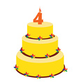 Fourth birthday cake vector image