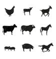 Farm animals silhouette vector image