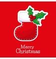christmas sock with Poinsettia Christmas Star vector image