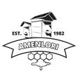 Retro beekeeper honey label badge emblem vector image