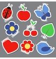 Set og elements for scrapbooking bird flower heart vector image