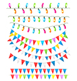 Strings of holiday lights and birthday flags white vector image