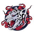 white tiger print logo vector image