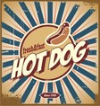Retro hot dog sign vector image