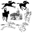 Silhouettes and sketches of horses jockeys vector