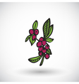 Coffee branch icon with round shadow vector image