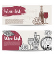 wine list banner templates design elements for vector image