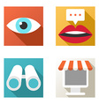 Flat design icon set Online shopping chat vector image vector image