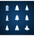 Set of Christmas trees 3d icons vector image