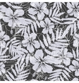Black and gray tropical flowers silhouettes vector image