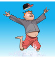 cartoon funny man happily jumping in the spray vector image