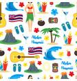 cartoon symbol of hawaii seamless pattern vector image