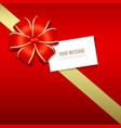 Gift box gold and red ribbons white card vector image