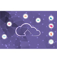 polygon purple background with a picture of clouds vector image