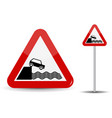 Road sign warning departure to embankment in red vector image
