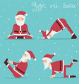 Santa Claus doing yoga holiday vector image