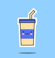 kawaii soda cup icon image vector image