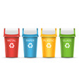 colorful recycle trash bins set of vector image