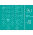 Outlined Medical and Healtcare Icons Set vector image