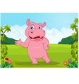Cartoon big hippo waving vector image
