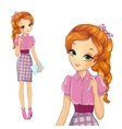 Girl In Pink Bisness Style Dress vector image